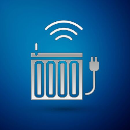 Silver Smart heating radiator system icon isolated on blue background. Internet of things concept with wireless connection. Vector