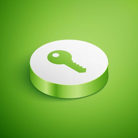 Isometric House key icon isolated on green background. White circle button. Vector Illustration