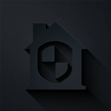 Paper cut House under protection icon isolated on black background. Home and shield. Protection, safety, security, protect, defense concept. Paper art style. Vector