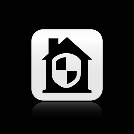Black House under protection icon isolated on black background. Home and shield. Protection, safety, security, protect, defense concept. Silver square button. Vector Иллюстрация