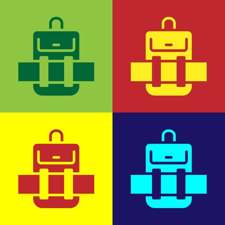 Pop art Hiking backpack icon isolated on color background. Camping and mountain exploring backpack.  Vector. Иллюстрация