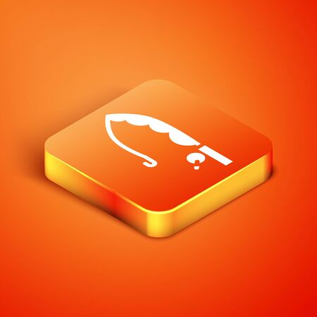 Isometric Fishing rod icon isolated on orange background. Catch a big fish. Fishing equipment and fish farming topics. Vector Vectores