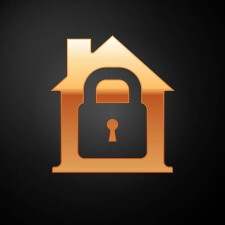 Gold House under protection icon isolated on black background. Home and lock. Protection, safety, security, protect, defense concept. Vector Illustration