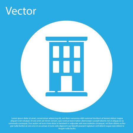 Blue House icon isolated on blue background. Home symbol. White circle button. Vector