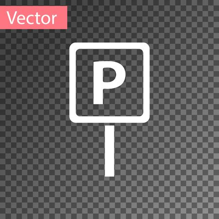White Parking icon isolated on transparent background. Street road sign. Vector Illustration