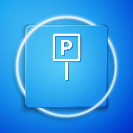 White Parking icon isolated on blue background. Street road sign. Blue square button. Vector