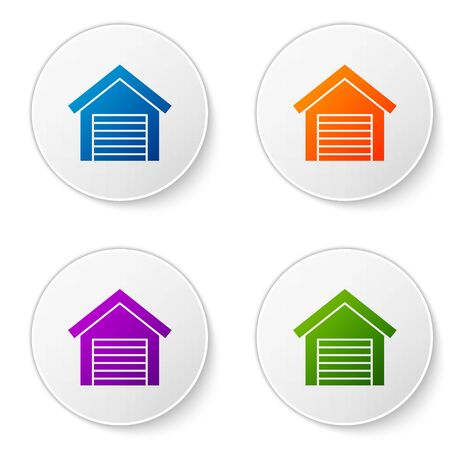 Color Garage icon isolated on white background. Set icons in circle buttons. Vector