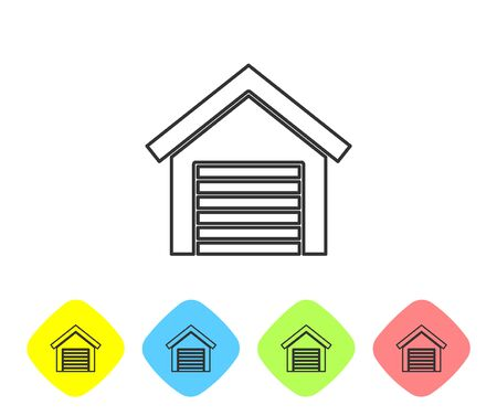 Grey line Garage icon isolated on white background. Set icons in color rhombus buttons. Vector Illustration