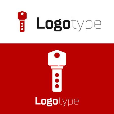 Red House key icon isolated on white background.