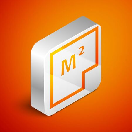 Isometric House plan icon isolated on orange background. Silver square button. Vector