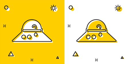 Black Fisherman hat icon isolated on yellow and white background. Random dynamic shapes. Vector