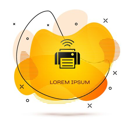 Black Smart printer system icon isolated on white background. Internet of things concept with wireless connection. Abstract banner with liquid shapes. Vector  イラスト・ベクター素材