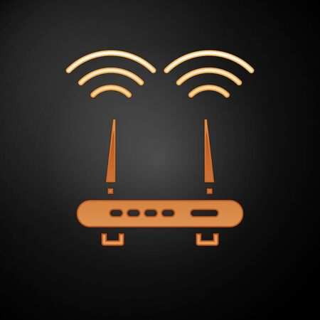 Gold Router and wifi signal icon isolated on black background. Wireless modem router. Computer technology internet. Vector