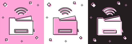 Set Smart printer system icon isolated on pink and white, black background. Internet of things concept with wireless connection. Ilustração