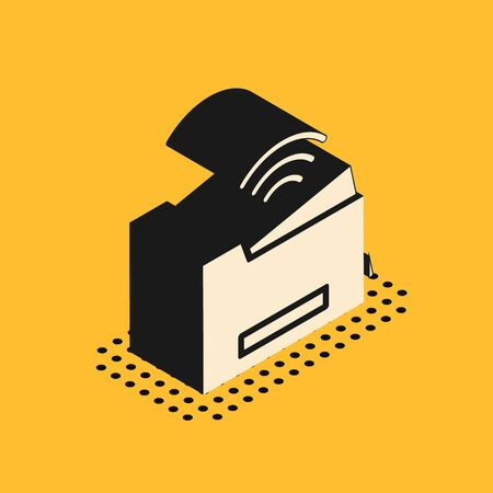 Isometric Smart printer system icon isolated on yellow background. Internet of things concept with wireless connection. Vector