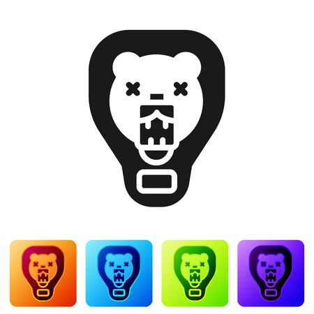 Black Bear head on shield icon isolated on white background. Hunting trophy on wall. Set icons in color square buttons. Vector