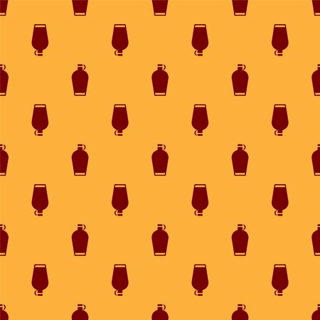 Red Canteen water bottle icon isolated seamless pattern on brown background. Tourist flask icon. Jar of water use in the campaign. Vector