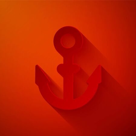 Paper cut Anchor icon isolated on red background. Paper art style. Vector
