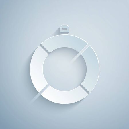 Paper cut Lifebuoy icon isolated on grey background. Lifebelt symbol. Paper art style. Vector Иллюстрация