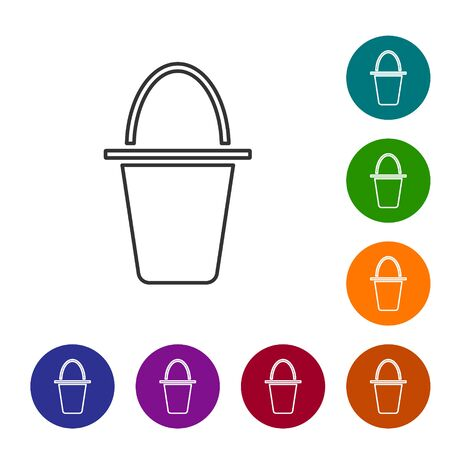 Black line Fishing bucket icon isolated on white background. Fish in a bucket. Set icons in color circle buttons. Vector