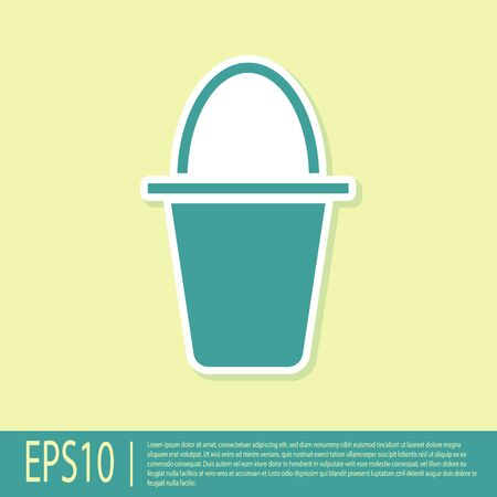 Green Fishing bucket icon isolated on yellow background. Fish in a bucket. Vector