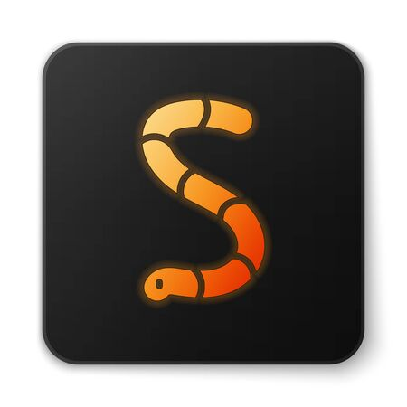 Orange glowing neon Worm icon isolated on white background. Fishing tackle. Black square button. Vector