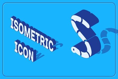 Isometric Worm icon isolated on blue background. Fishing tackle. Vector Vettoriali