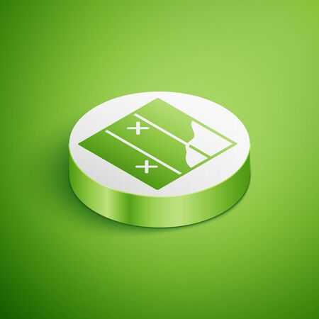 Isometric Folded map icon isolated on green background. White circle button. Vector Иллюстрация