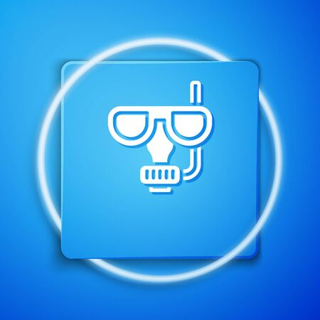White Diving mask and snorkel icon isolated on blue background. Extreme sport. Diving underwater equipment. Blue square button. Vector