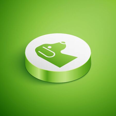 Isometric Dog icon isolated on green background. White circle button. Vector 向量圖像