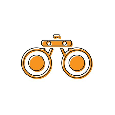Orange Binoculars icon isolated on white background. Find software sign. Spy equipment symbol.  Vector. Ilustração