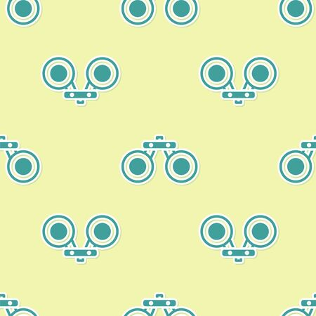 Green Binoculars icon isolated seamless pattern on yellow background. Find software sign. Spy equipment symbol. Vector
