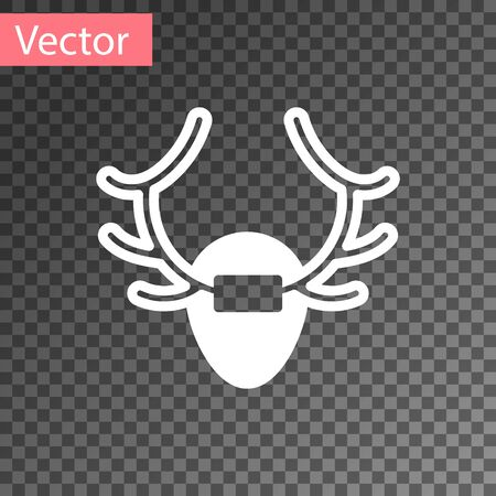 White Deer antlers on shield icon isolated on transparent background. Hunting trophy on wall. Vector