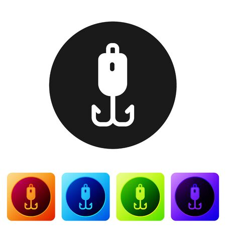 Black Fishing hook icon isolated on white background. Fishing tackle. Set icons in color square buttons. Vector