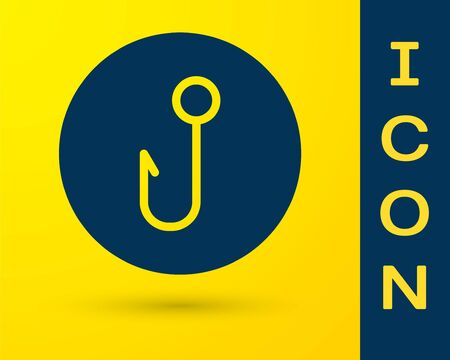 Blue Fishing hook icon isolated on yellow background. Fishing tackle. Vector