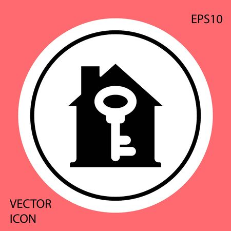 Black House with key icon isolated on red background. The concept of the house turnkey. White circle button. Vector