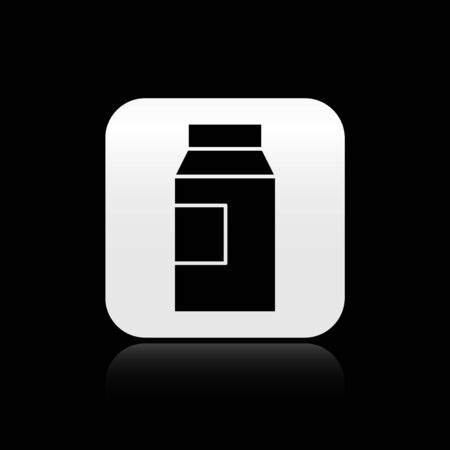 Black Paper package for milk icon isolated on black background. Milk packet sign. Silver square button. Vector