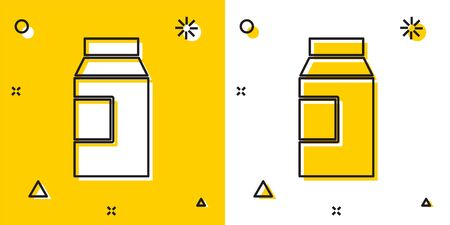 Black Paper package for milk icon isolated on yellow and white background. Milk packet sign. Random dynamic shapes. Vector