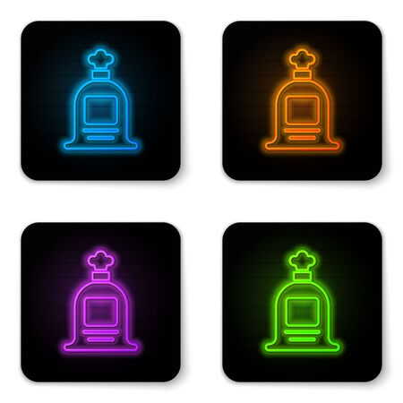 Glowing neon Full sack icon isolated on white background. Black square button. Vector