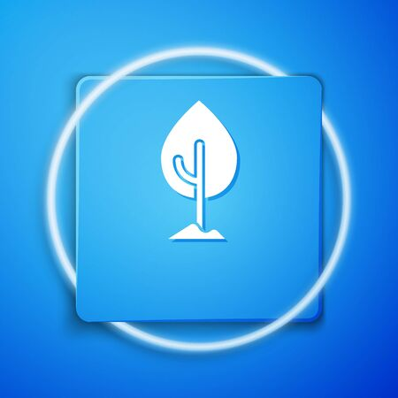 White Tree icon isolated on blue background. Forest symbol. Blue square button. Vector