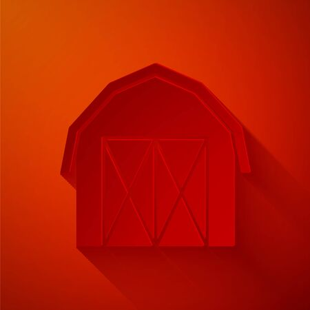Paper cut Farm house icon isolated on red background. Paper art style. Vector 向量圖像