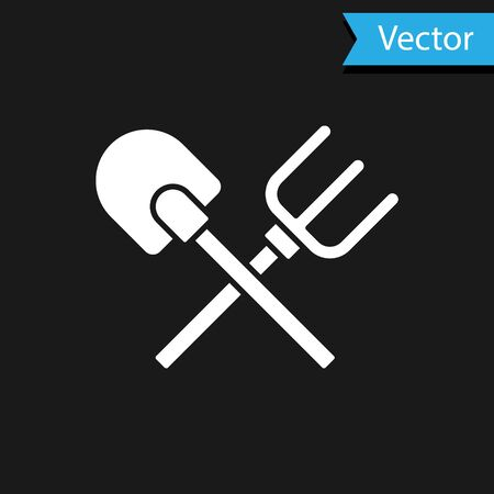 White Shovel and rake icon isolated on black background. Tool for horticulture, agriculture, gardening, farming. Ground cultivator. Vector