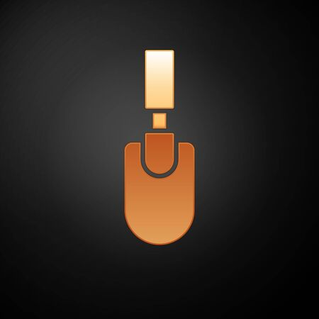 Gold Garden trowel spade or shovel icon isolated on black background. Gardening tool. Tool for horticulture, agriculture, farming.  Vector.