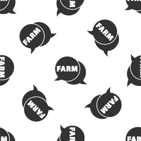 Grey Speech bubble with text Farm icon isolated seamless pattern on white background. Vector