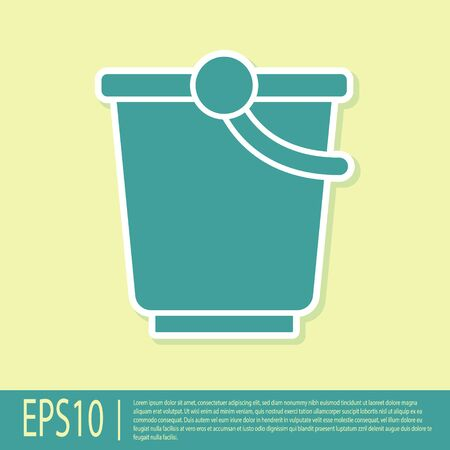 Green Bucket icon isolated on yellow background. Vector Banco de Imagens - 150292664