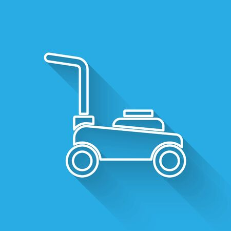 White line Lawn mower icon isolated with long shadow. Lawn mower cutting grass. Vector.