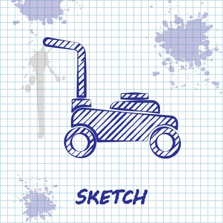 Sketch line Lawn mower icon isolated on white background. Lawn mower cutting grass. Vector