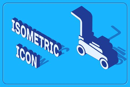 Isometric Lawn mower icon isolated on blue background. Lawn mower cutting grass.  Vector.
