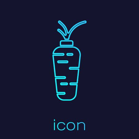 Turquoise line Carrot icon isolated on blue background.  Vector.