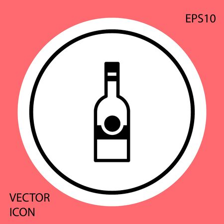 Black Glass bottle of vodka icon isolated on red background. White circle button. Vector 向量圖像